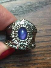 Chunky Etruscan Bali Fashion Ring 7 + Vintage Silver Metal Blue Oval Glass Stone