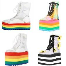 Platform Ankle Boots for Women Rainbow Thick Sole Goth Punk Lace-up Lady Booties