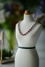 14k White Gold Over 25 CT Oval Cut Red Ruby & Diamond Halo Tennis 16 Necklace
