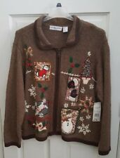 Womens 2X  Victoria Jones Sweater Christmas holiday zipper front  embroidery