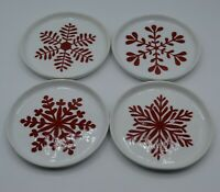 Crate and Barrel Appetizer Plates Red Snowflakes on White China Mint Set of Four