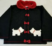 Youth Sz 6 Scotty Dog Jacket Black Red Faux Fur Collar Bow Buttons 50s Swing