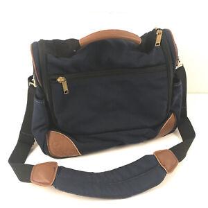 "Vintage LL Bean blue canvas leather travel bag 6x12"" footprint 11"" tall GUC bbx3"