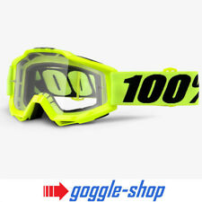100% PERCENT ACCURI OTG MX MOTOCROSS GOGGLES - FLOU YELLOW over the glasses