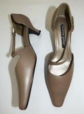 NEW ANDREW GELLAR 6.5 BRONZE taupe LEATHER  kitten heel shoes Pointy toe
