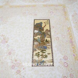 YILONG 1x3' Handmade Silk Carpet Beautiful Scenery Pictorial Valuable Rug L036H