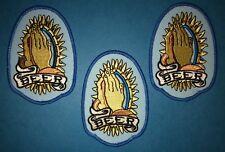 3 Lot Vintage 1980's Beer Praying Hands Biker Hat Hipster Jacket Patches 104