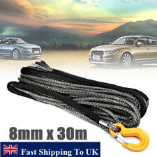 100ft 8mm Synthetic Winch Rope Dyneema Off Road Self Recovery Rigging with Hook