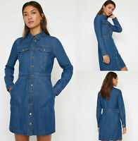 Warehouse NEW Snap Front Long Sleeve Mini Denim Shirt Dress in Blue Size 6-16
