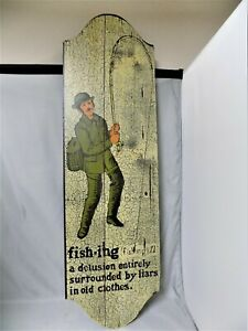 WONDERFUL 1970's VINTAGE GEORGE NATHAN FISHING THEME WOODEN WALL DECORATION NICE