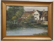 Ölgemälde Dorf Stadt See Natur Landschaft excellente Künstlerarbeit