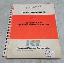 Kearney & Trecker Operating Manual, Pub 865, Kt-Gemini-D Machine Control System