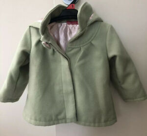 Sprout Size 1 Unisex Toddler Lined Hooded Lime Green Hooded Button Fleece Jacket