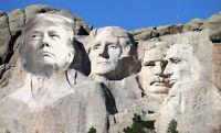 3x5 inch Donald Trump On MOUNT RUSHMORE Bumper Sticker - funny pro president  us