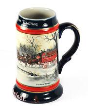 1990 Winter Anheuser Busch Budweiser Beer Stein Mug Clydesdales Susan Sampson