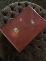 Vintage Mid Century Luggage 1950s 1960s Leather Bound With Travel Stickers