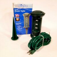 Holiday Home Power Stake ~ 3 Outlets with 15' Extension Cord
