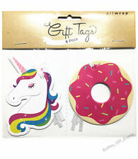 Girls Birthday Party Gift Tags Unicorn Donuts 6pk Favour Bag Rainbow Baby Shower