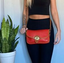 Vintage DOONEY & BOURKE Red Cavalry Leather Small Cross-body Purse Bag USA