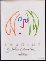 Poster Imagine John Lennon The Beatles Yoko Ono Harrison Original Movie E13