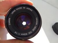 VINTAGE RETRO QUALITY CANON Photo CAMERA LENS FD 50 MM 1:1.8 Japan Made