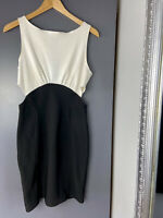 Womens Dress Side Cut Out Sides Fitted Cream Black Outside Zip  Size 12