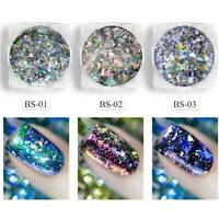 Laser Pigment Chameleon Flakes Nail Art Mirror Effect Chrome Glitter Powder DIY