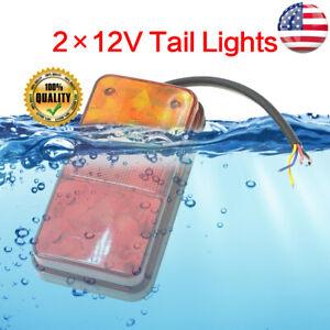 Rear LED Submersible Trailer Tail Lights Kit Boat Marker Truck Waterproof 2PCS