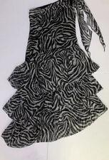 Garize-European Designer Silk Zeba Print Metallic Thread One Shoulder Dress 462