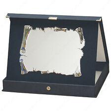 Targa pergamena alluminio con stampa personalizzata in astuccio blu