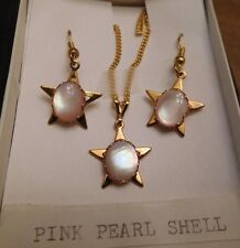 Pink Pearl Shell, Vintage necklace and Pierced Earring Set