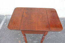 Antique American Walnut Drop Leaf Side End Table With One Drawer, Early 19th