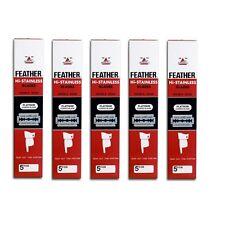 Feather Double Edge Blades Razor Platinum Coat Hi Stainless Red Box 5 x 100 pcs