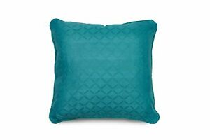 Teal Jacquard Diamond Design Filled Cushions with removable cover