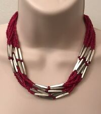 Premier Designs Jewelry BERRY BRIGHT Necklace 20638 Silver Fuchsia Pink Antiqued