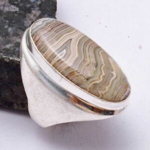 Crazy Lace Agate Ethnic Handmade Man's Ring Jewelry US Size-8 AR 39294