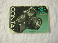 Distressed Vintage Contax 137 MD Quartz Instuction Booklet (Printed in Japan)
