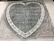 1682 Major THOMAS SAVAGE Grave Rubbing BOSTON Mass UNUSUAL HEART SHAPE