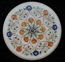 "12"" white marble round Table Top Inlay pietra dura handmade home Decor"