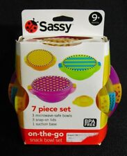 New Sassy Baby Convenient 7 Piece On-the-Go Snack Bowl Set With Lids