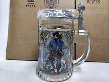 Vintage Pewter Etched Glass Drinking Stein Made In Germany Mug Colorful    hd103