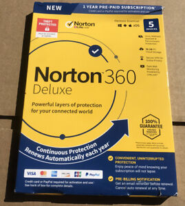 NEW SEALED Norton 360 Deluxe 5 Devices 1 Year Protection PC Or Mac FAST SHIP