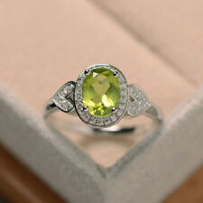 14K White Gold 1.65 Ct Natural Diamond Peridot Gemstone Wedding Ring Size M O P