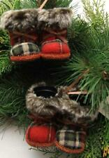 NEW 2 x PAIRS HANGING CHRISTMAS TREE COSY FURRY RED TARTAN BOOTS DECORATION