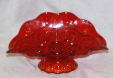 Vintage Smith Moon & Stars Glass Banana Boat Napkin Fruit Bowl Amberina Red