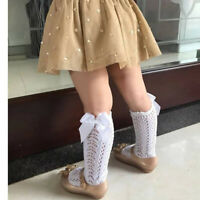 Baby Girls Knee Cotton High Stockings Toddlers Bowknot Spanish Style Sock CF7X