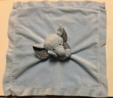 Carters Blue Elephant Rattle Lovey Security Blanket Navy Stripe Plush