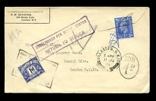 POSTAGE DUE GB 1951 1d + 1d REFUSED WILLESDEN
