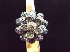 Joan Rivers Blue black Clear Rhinestone Flower Ring Size 8