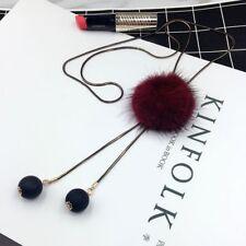 New Fashion Elegant Winter Long Jersey Sweater Chain Fur Pompom Pendant Necklace